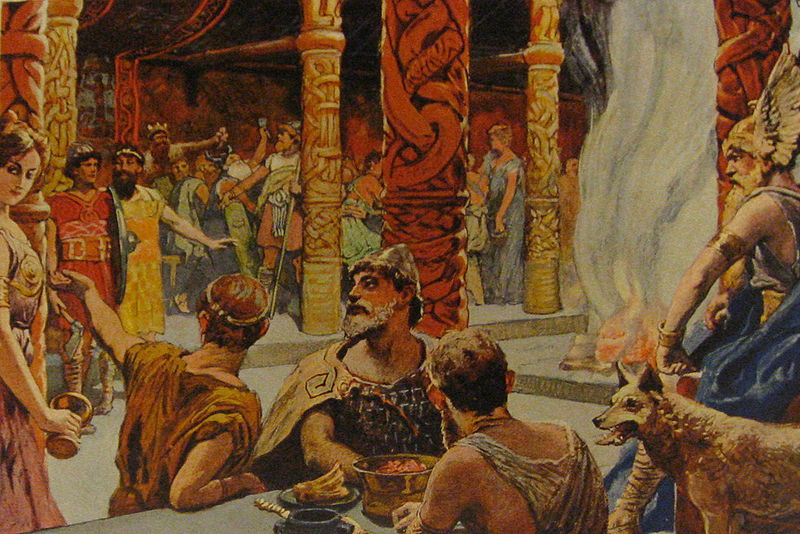 Các einherjar tại Valhall (1905) – tranh của Carl Emil Doepler Jr.