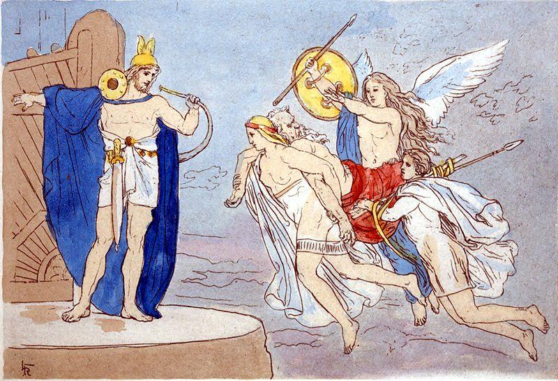 Valkyrie và Heimdallr (1885) – tranh minh họa của Lorenz Frølich