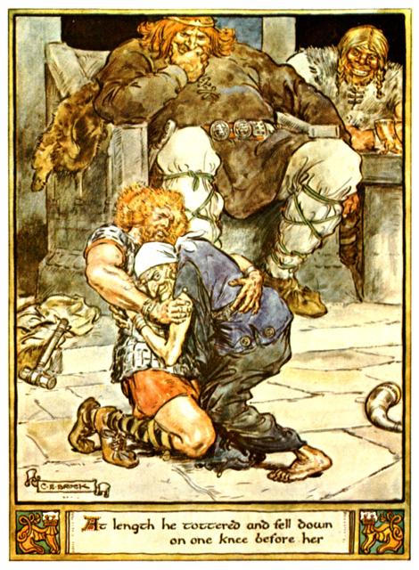 Þórr đánh vật với Elli tại chỗ của Útgarða-Loki (1930) – tranh của Charles E. Brock