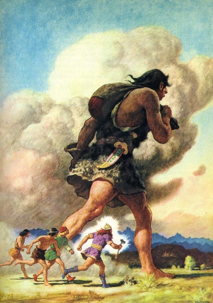 Hành trình của Þórr với người khổng lồ Skrýmir (1920) – tranh của Newell Convers Wyeth